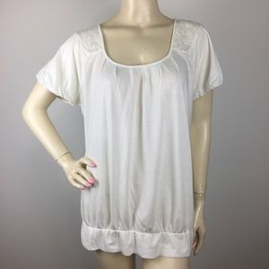 🔥Anthropologie Little Yellow Button Cream Tee XL